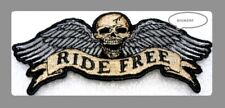 "SKULL RIDE FREE WINGS  BIKER PATCH  VEST  HAT   IRON OR SEW   4 1/2"" X 2"""