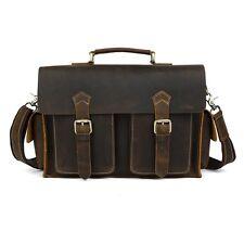 New Retro Genuine Leather Briefcase Men Shoulder Bag Messenger Attache Satchel