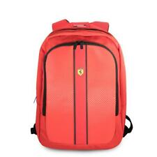 """Ferrari Laptop Backpack 15"""" Nylon Pu Carbon Dual Compartment Usb Connector Red"""