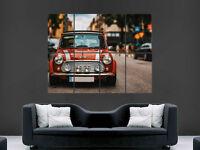MINI COOPER S CLASSIC CAR POSTER CITY STREET EUROPE  ART PICTURE PRINT LARGE