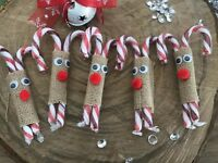 5 Hessian Reindeer Candy Cane Christmas Tree Decoration Eve Box Stocking Filler