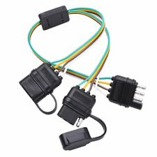 Flat 4-Way 4 Pin Trailer Y-Splitter Harness Adapter For LED Tailgate Light Bar