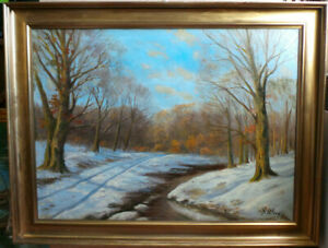 WINTER LANDSCAPE - RIVER IN FOREST. OIL PAINTING BY S. WIIG
