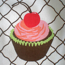 Cupcake tea towel kitchen Cotton printed with loop. Pink brown cake. 70cm x 45cm