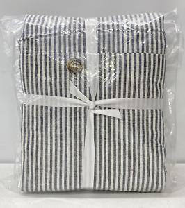 NEW Pottery Barn Wheaton Striped Linen/Cotton FULL/QUEEN Duvet Cover~Navy Blue
