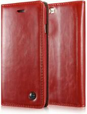 For iPhone SE / 5S - LEATHER ID CARD WALLET MAGNETIC FLIP POUCH CASE COVER RED