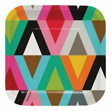 "French Bull Viva Design Jackie Shapiro Art Theme Party 7"" Square Dessert Plates"