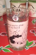 VTG Pink Elephant & Drunk DRINK Glass Cocktail BAR Horrors Stan MacGovern Comic