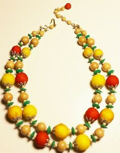 Vintage In Seattle Fabulous mid century fruit salad beads Necklace Lot#696