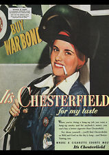 "VINTAGE CHESTERFIELD CIGARETTES 1943 AD REPRO A4 CANVAS PRINT POSTER 11.7""x8.3"""