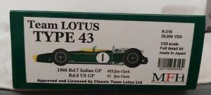 Model Factory Hiro 1:20 Lotus 43 1966 USA GP. Box shelf worn New in box