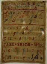 Small Mid 19Th Century Alphabet Sampler By Jane Smith - 1849