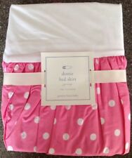 NEW Pottery Barn Baby Pink w/White Polka Dots Dottie Cotton Crib Bed Skirt