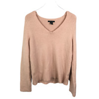 Tahari Womens V-Neck Sweater Size M Pink Cozy Knit Pullover Long Sleeve Acrylic