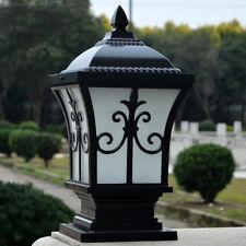 Black Pillar Light Vintage Garden Gate Post Lamp Glass Lantern Outdoor Lighting