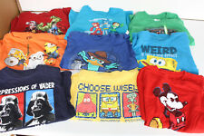 BOYS T-SHIRTS MIXED LOT OF 9 (MARVEL, MINIIONS, STAR WARS, MICKEY MOUSE, PHINEAS