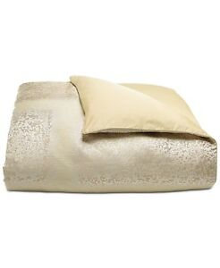 Hotel Collection Patina Textured Jacquard KING Duvet Cover Gold $420 i2345