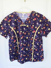 Best Medical Wear Women's L Brown with Halloween Treats Scrub Top with Pockets