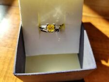 Vintage YELLOW SAPPHIRE & Diamond unique Engagement Ring ,matching 14K Gold band