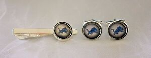 Detroit Lions Cufflink & Tie Clip Set made from Football  Cards, Gift for Men