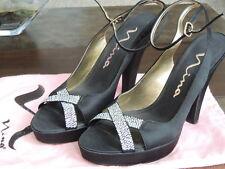 2a268611983c1 Womens 8 M   NINA   Black Satin   Iridescent Bling Ankle Strap Platform  Sandals