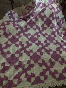 "Antique Quilt Scalloped Border 82 x 100"" Lavender Hand made Ohio"