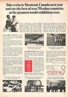 1966 Original Advertising' Vintage Canada Montreal EXPO67 Expo '67 1967