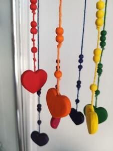 Handmade Wooden Hanging Hearts Rainbow Mobile Art kids bedroom