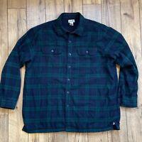 LL Bean Mens XL Regular Plaid Fleece Lined Flannel Shirt Jacket - Green Blue