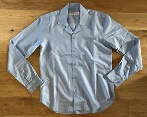 Orlebar Brown Cotton Shirt Lightweight Medium Light Blue Rrp £195 New