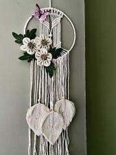 Macrame Wall Hanging Craft Handmade Woven White Cream Flower Feathers Circle