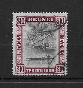 (13) Brunei 1948 $10 River Scene SG92 Fine Used Cat£30