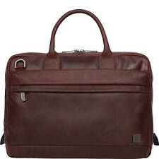 "Brand New KNOMO Barbican Foster 14"" Men's Leather Laptop Brief - Brown"