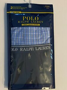 Polo Ralph Lauren Boy's Woven Boxer Shorts - 2 Pack - Check & Pony Print -Large