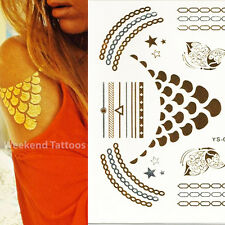 Gold Silver Chains Star Butterfly Metallic Temporary Tattoo Body Henna Transfer