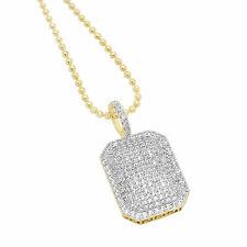 Hip Hop 14k Gold Plated Iced Out White Lab Diamonds Ross Dog Tag Pendant Bling
