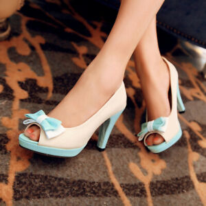Womens Stiletto High Heels Platform Peep Toe Sandals Bow-knot Casual Lady Shoes