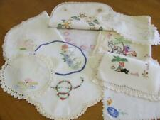 An Assortment of Ten Hand Embroidered Vintage Centres & Doilies - Craft Use Only