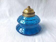 BELLE LAMPE À HUILE PÉTROLE ANCIENNE EN VERRE À BULLES BLEU TRANSPARENT XIXe S