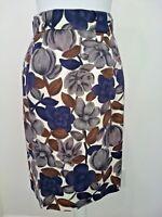 BODEN Womens Skirt Blue Brown Gray White Floral Cotton Linen Straight Sz 6R