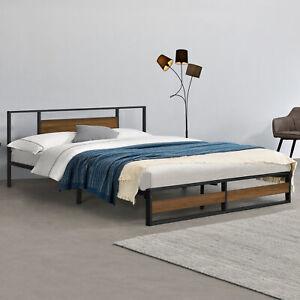Metallbett 180x200cm Bettgestell Design Bett Schlafzimmer Metall Schwarz Walnuss