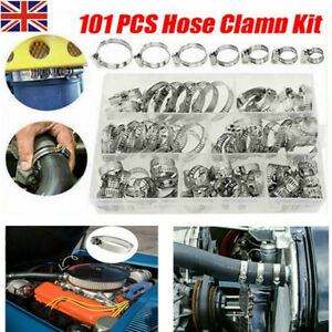 101 Pcs Assorted Stainless Steel Hose Clamp Kit With No Driver Jubilee Clips Set