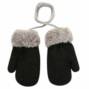 Winter Keep Warm Toddler Kids Thick Plush Gloves Hanging Neck Mittens Classic