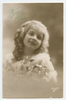 1910s Children Child Glamour Cute PRETTY BLOND GIRL rppc photo postcard