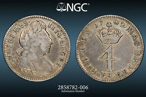 1702 WILLIAM III MAUNDY 4 PENCE: NGC FINE DETAILS BRUSHED