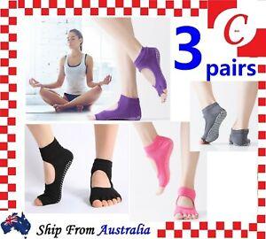 3Prs Women Yoga Non-Slip Grip Pilates Massage Five Toe Toeless Socks Gym Workout