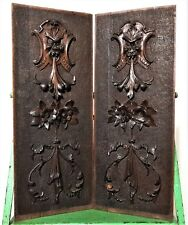 Pair winged devil griffin panel Antique french renaissance salvaged furniture