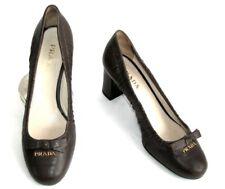 PRADA - Chaussures talons 7 cm tout cuir marron gris 38.5 39 - TRES BON ETAT