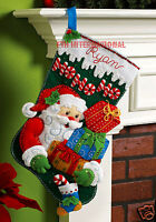 "Bucilla HO-HO-HO Santa ~ 18"" Felt Christmas Stocking Kit #86171, Presents, Gifts"