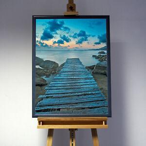 Neu 3D Bild Steg in Wasser Landschaft mit Rahmen Holz graublau See Meer Sonne